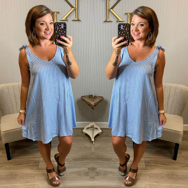Chambray Pinstripe Dress