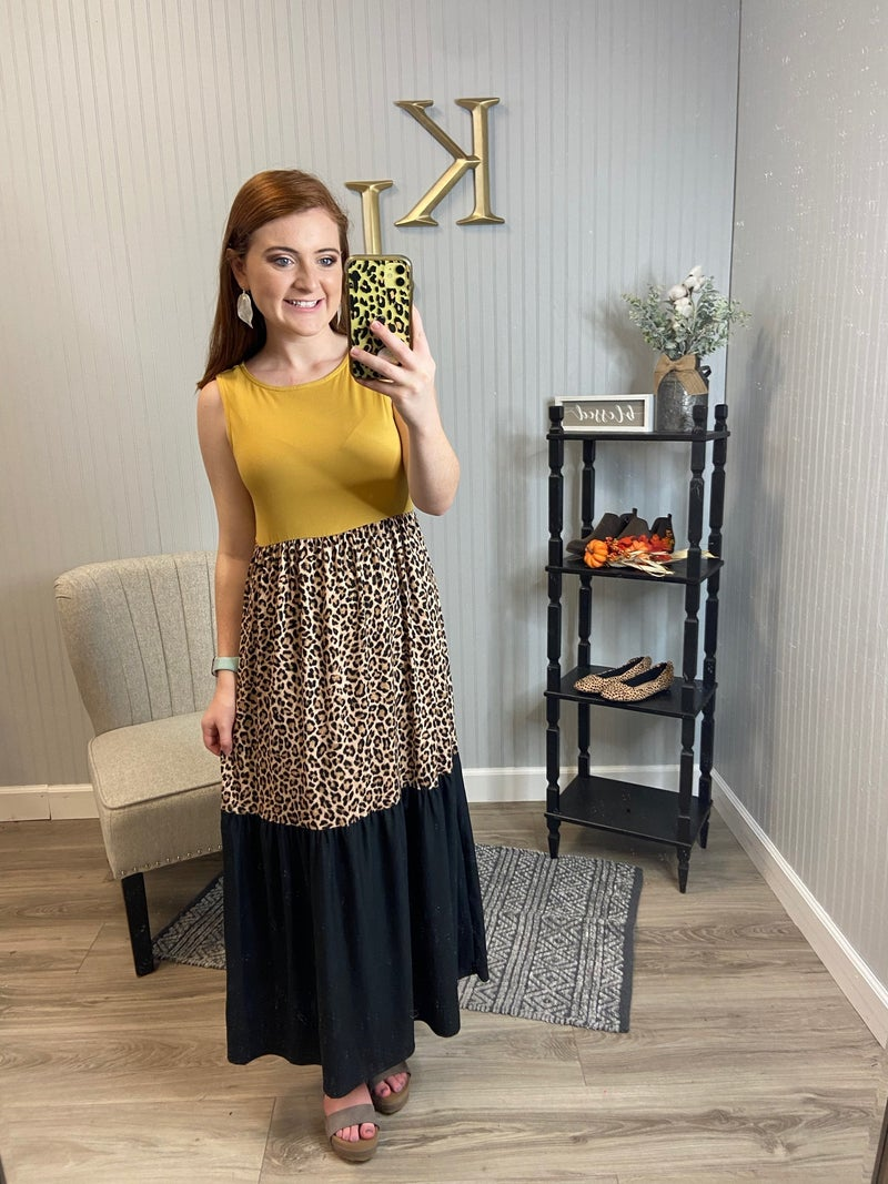 PR Tiered Leopard Color block Midi/Maxi Dress