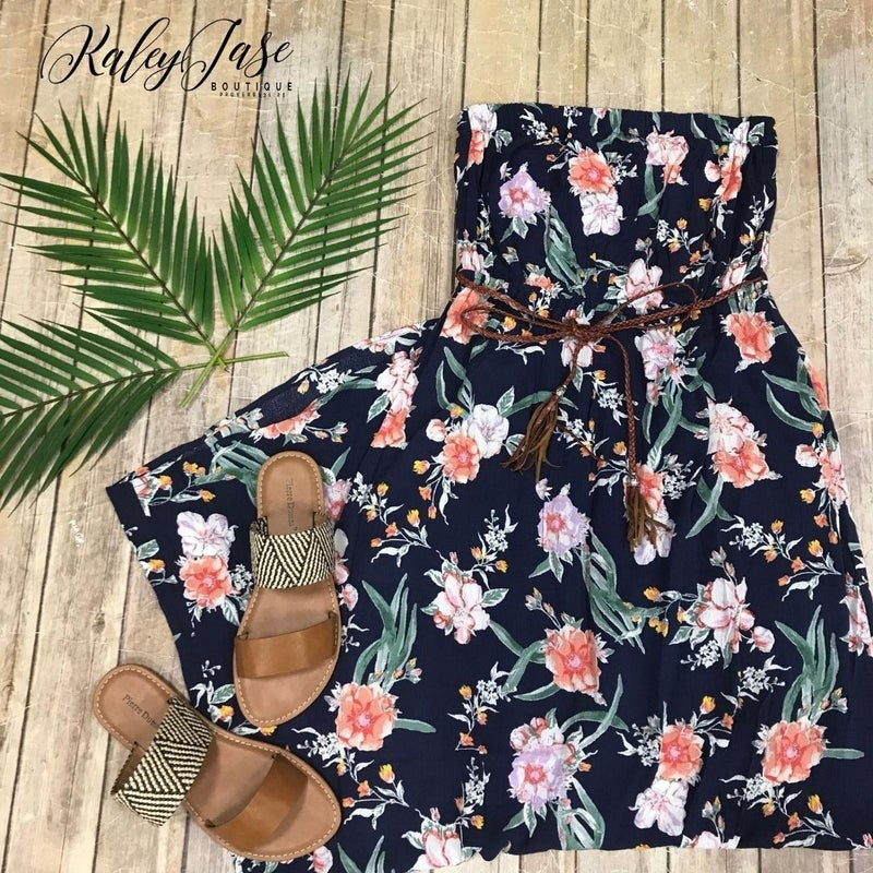 Strapless Floral Belted Maxi