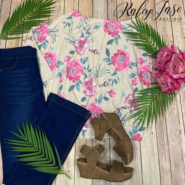 HM Taupe Pink Floral Slouchy Top