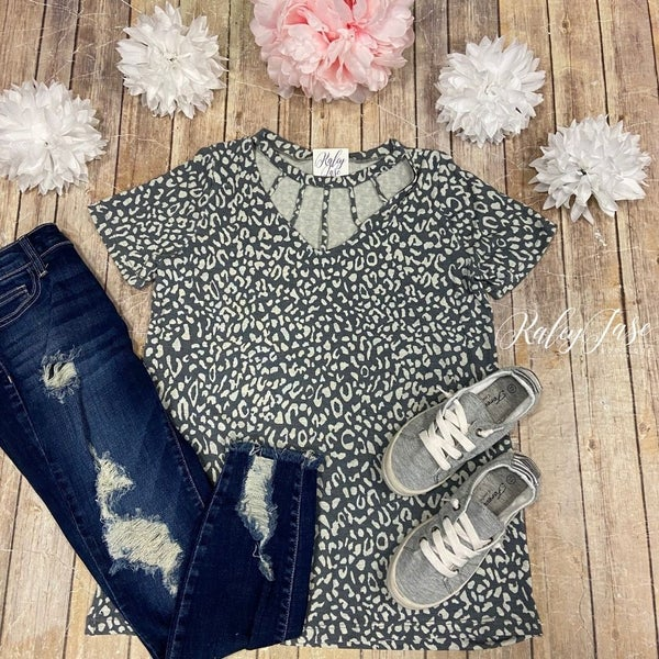 Grey Leopard Cage Top