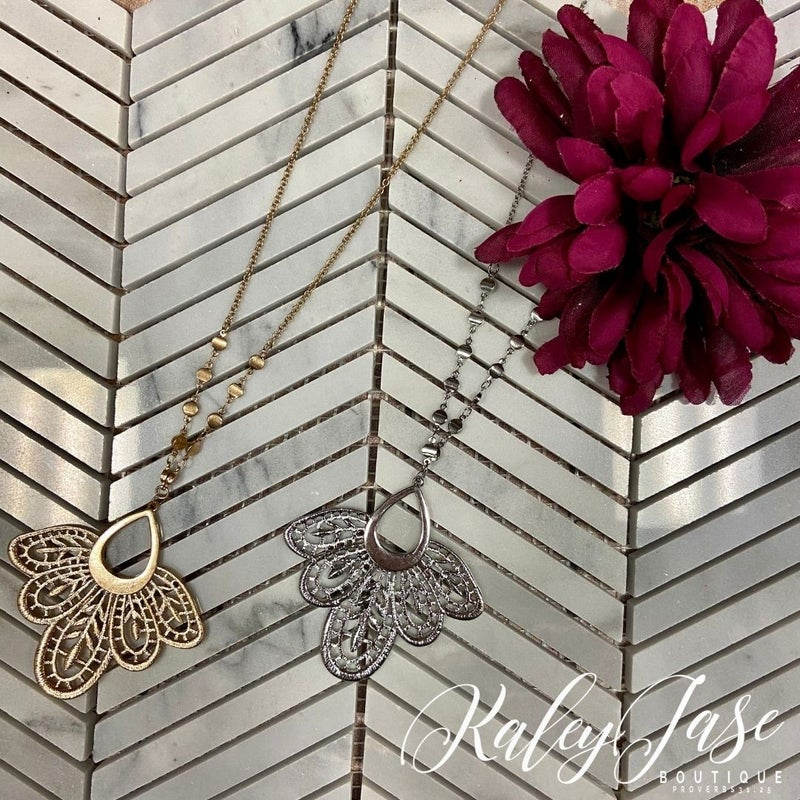 Ornate Petal Pendant Necklace