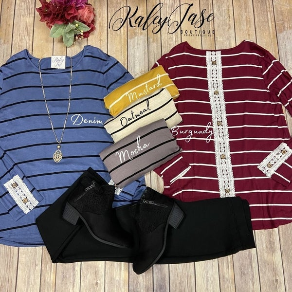 Stripe LS Crochet Accented Button Back Top