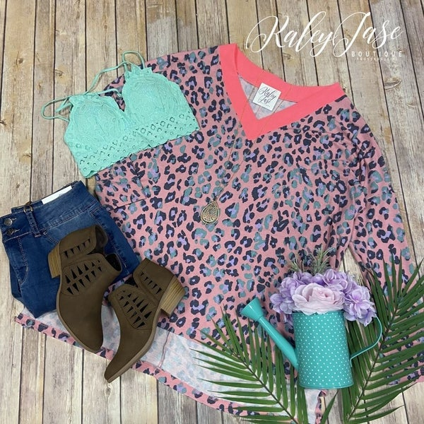 WB Neon Pink V Oversized Leopard Top