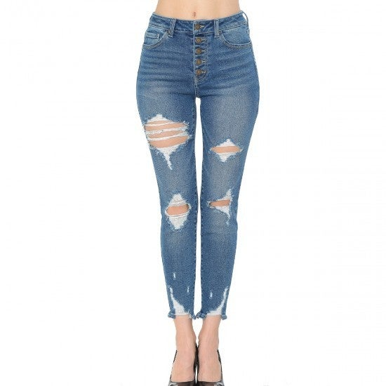WX High-rise Exposed Button Jeans *Final Sale*