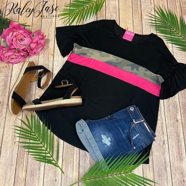 Black Fuchsia Camo Colorblock Ruffle Sleeve Top