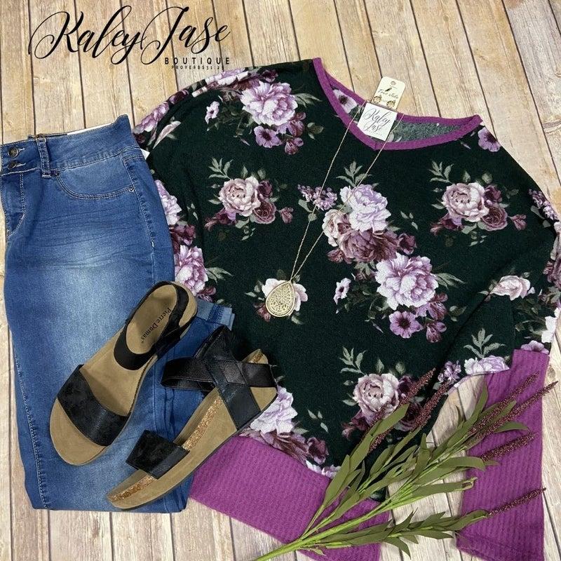 WB Lavender Floral Dolman Top