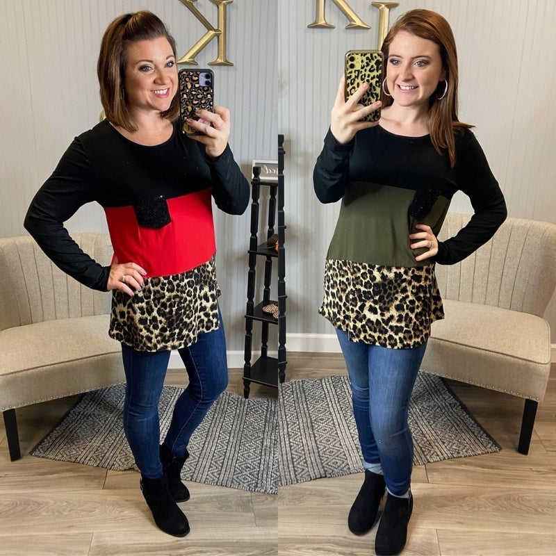 Leopard Colorblock Sequin Pocket Top