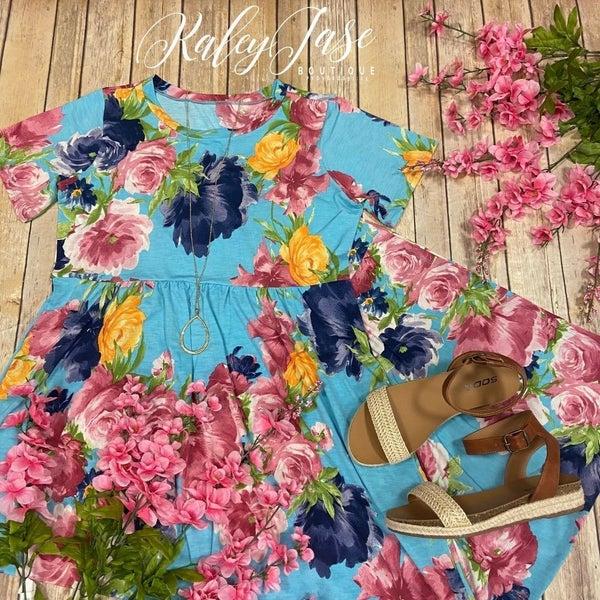 Sky Blue Floral Garden Maxi