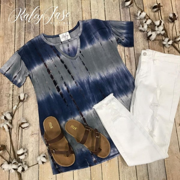Denim Tan Tie Dye Keyhole Top