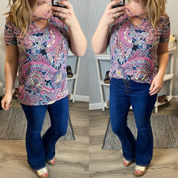 SIL Spring Paisley Criss Cross Top