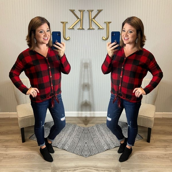 Buffalo Plaid Button Front Tie Top
