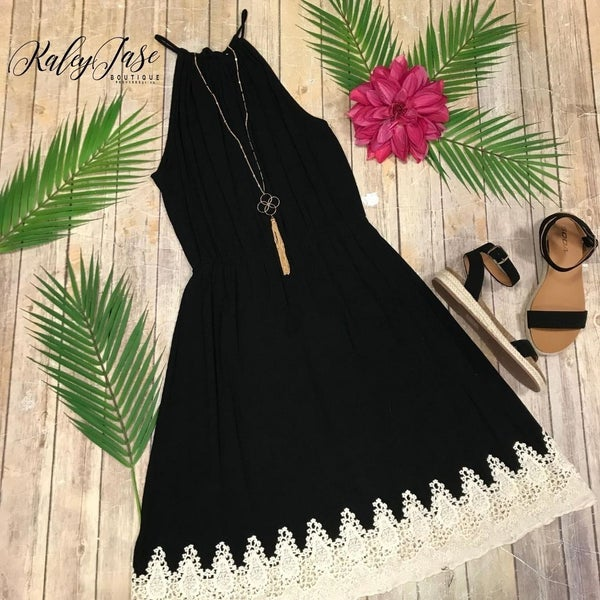 Black Halter Lace Bottom Dress