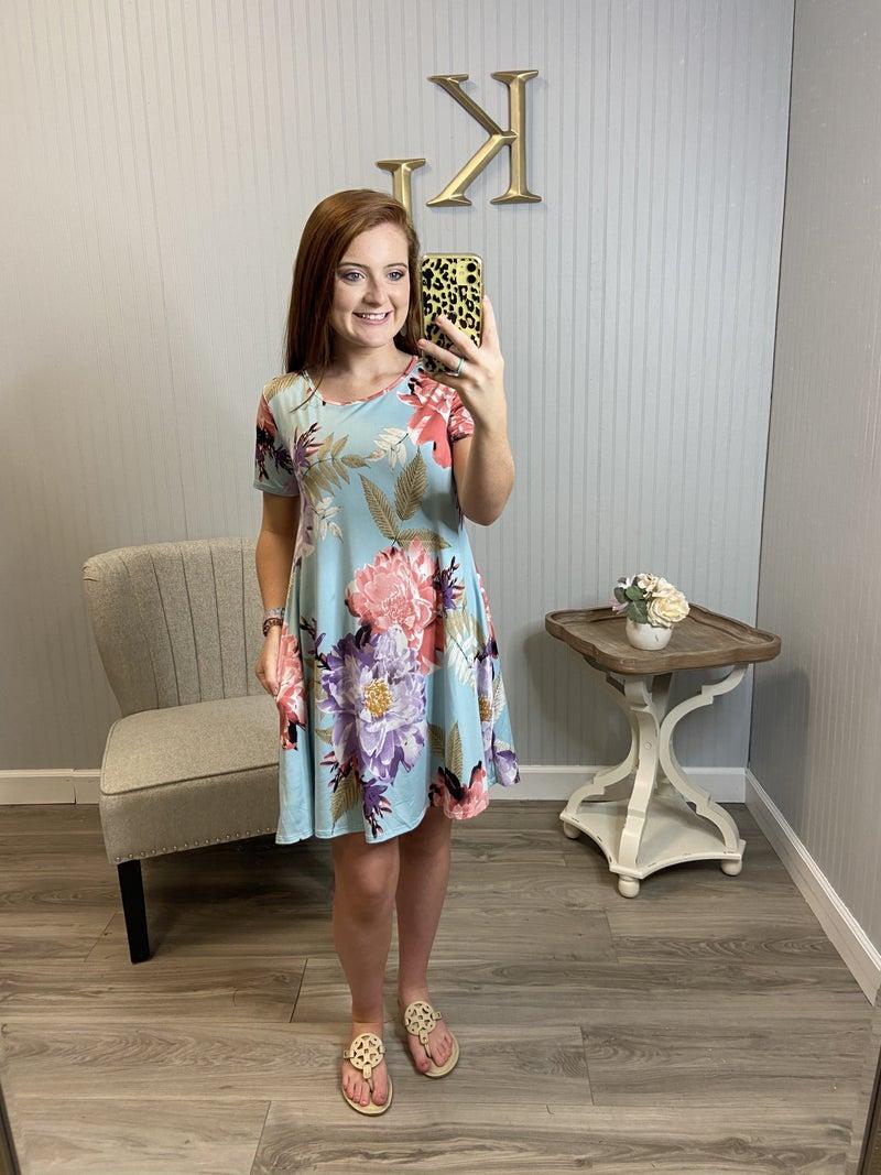 Blue Floral S/S Dress