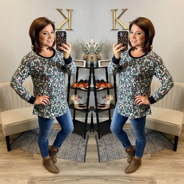SIL Leopard Pops of Color Sweatshirt