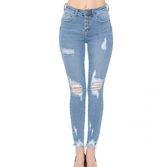 WX Lightwash Distressed Button Front Jeans