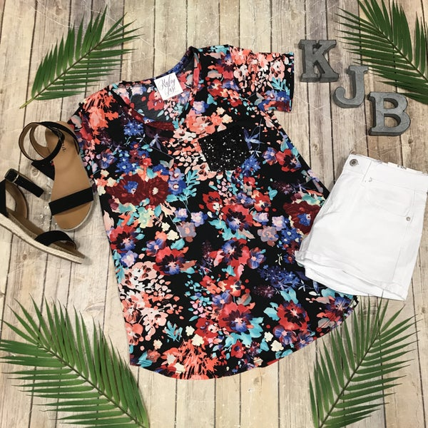 Black Floral Sequin Pocket Top