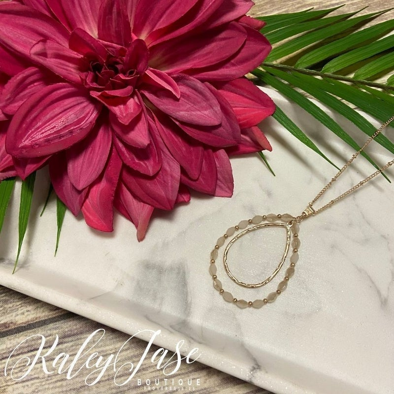 Ivory Grey Beaded Drop Pendant Necklace