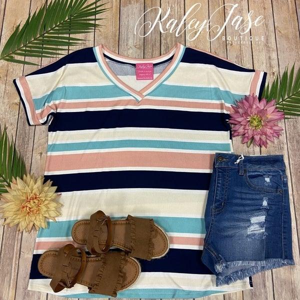 BB Navy Mint Soft Stripe Top