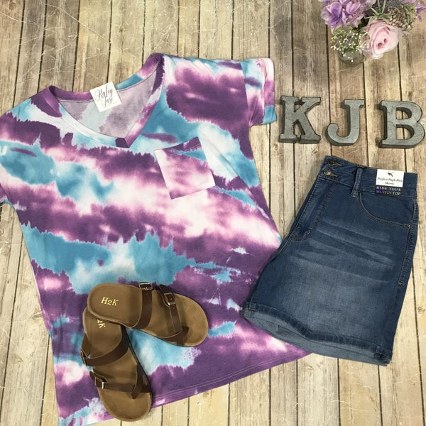 Aqua Lavender Abstract Vneck Top