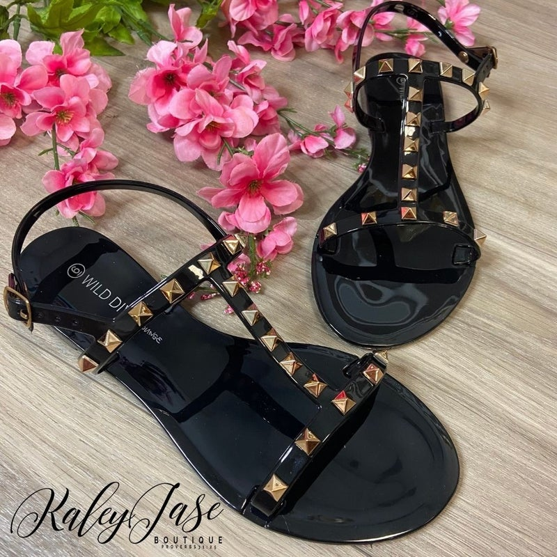 Black Jelly Spike Sandals