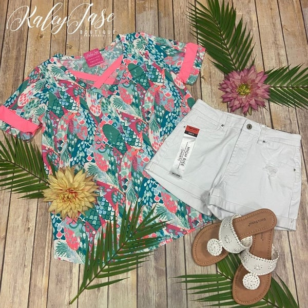 SIL Mint Coral Scale Criss Cross Varsity Top
