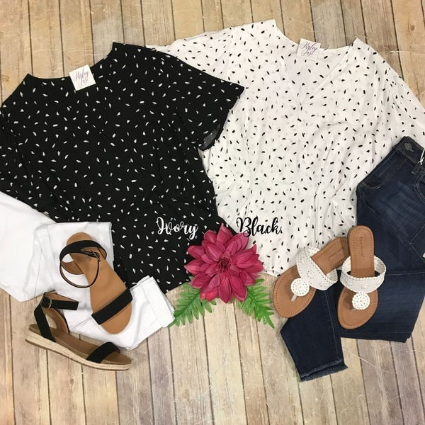 Dot V Wrap Peplum Top