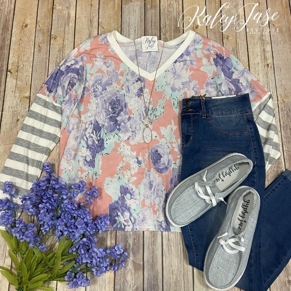 SIL Blush Lavender Stripe Sleeve Top