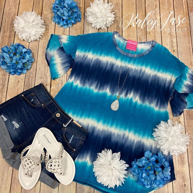 Teal Navy Ombre Tie Dye Ruffle Sleeve Top