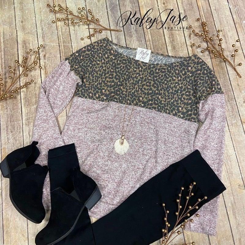Leopard Print Mix Knit LS Top