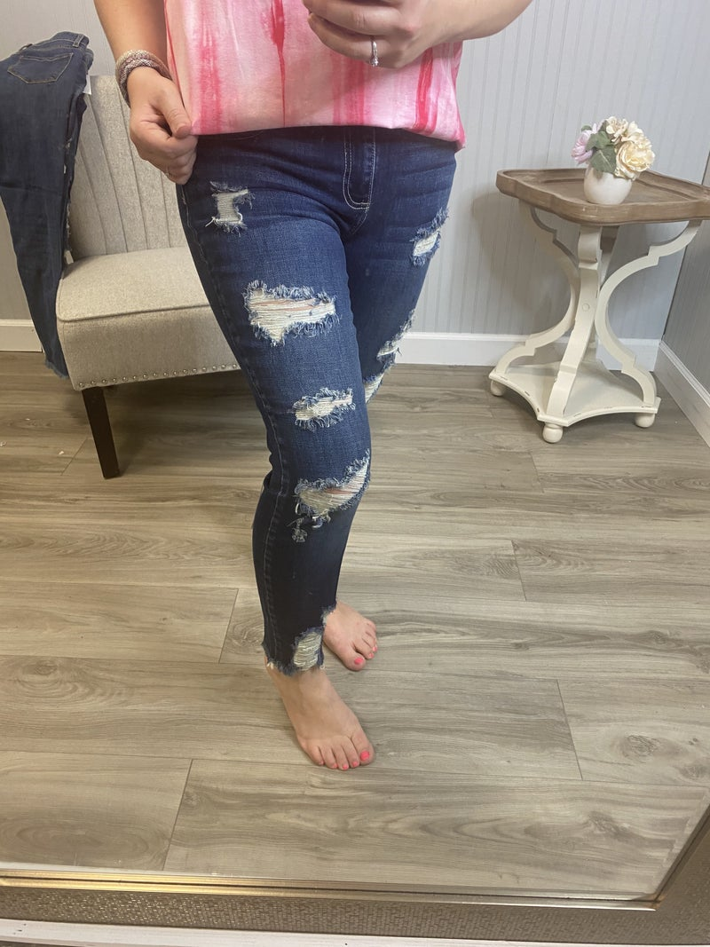 Cello Dark Wash Ripped Fray Jeans