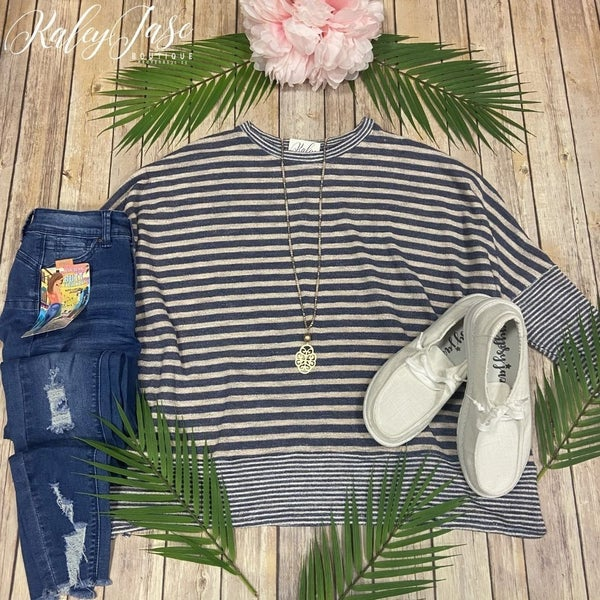 Navy Oatmeal Stripe Oversized Top