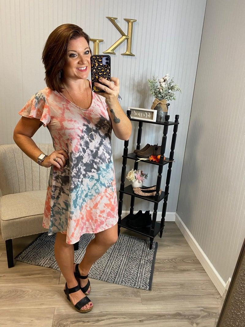 Coral Tie Dye Burst Dress *Final Sale*