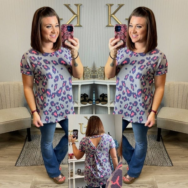 SIL Grey Neon Leopard Twist Back Top