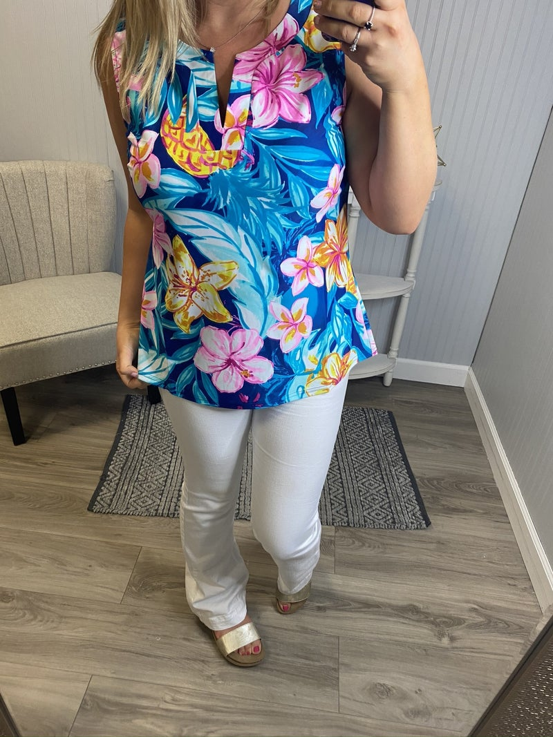 Aryeh Tropical Floral Dressy Tank