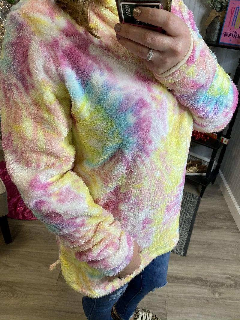 Tie Dye Sherpa 1/2 Zip Pullover *Final Sale*