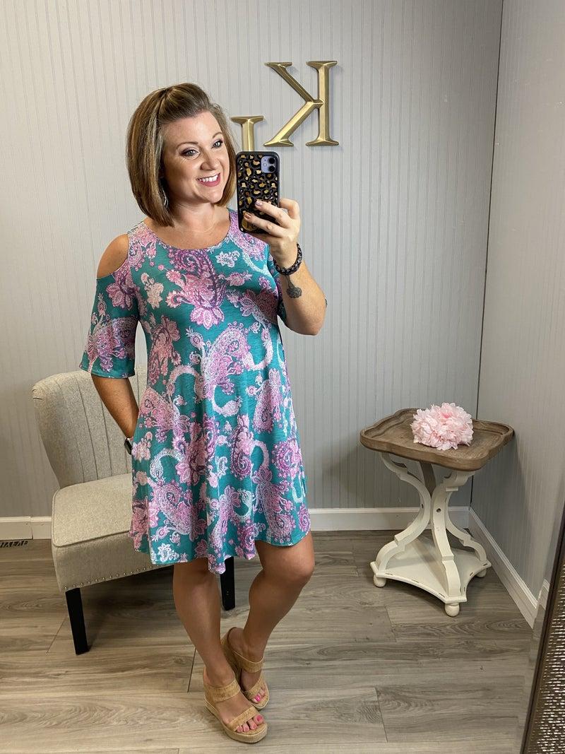 Mint Pink Paisley Open shoulder Dres