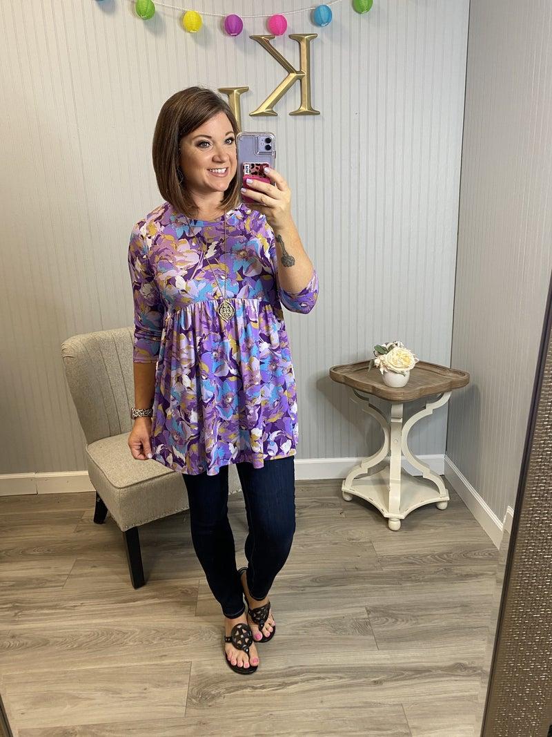 HM Lavender/Aqua Floral Babydoll Top