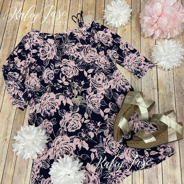 HM Navy Blush Floral Strappy Dress