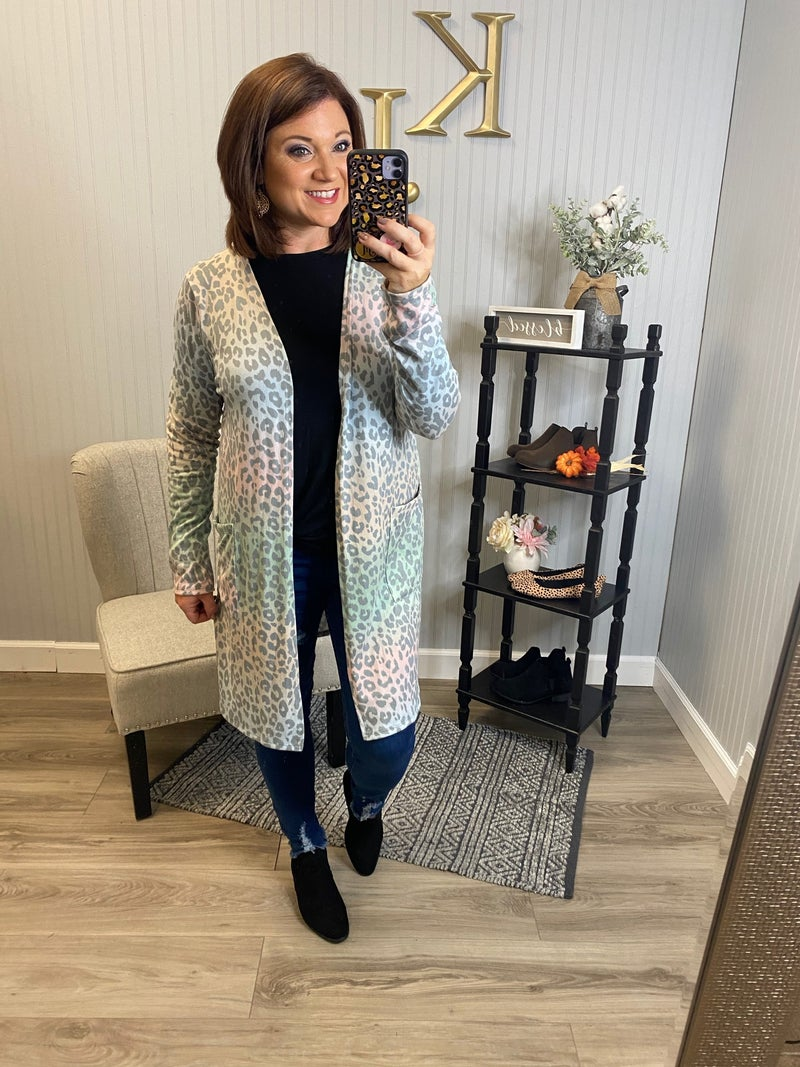 Multi Color Leopard Cardigan