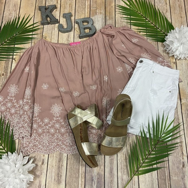 Dusty Pink Embroidery Off-Shoulder Blouse