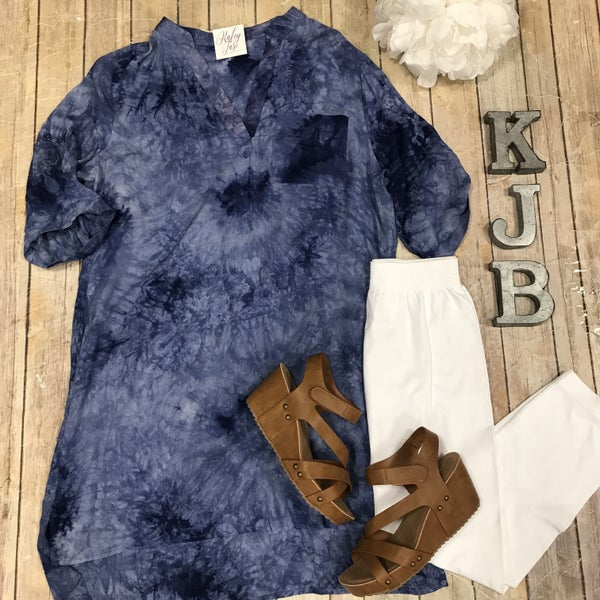 Blue Pocket Tie Dye Tunic