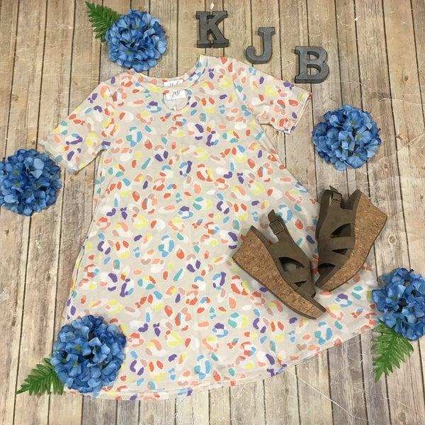 Taupe Multi Color Leopard Keyhole Dress
