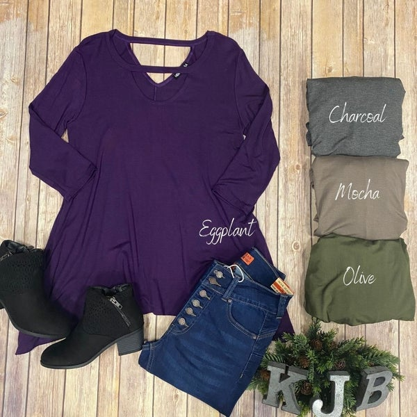 Solid Choker Tunic Top