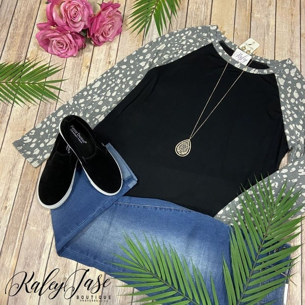 SIL Grey Black Spotted Raglan Top *Final Sale*