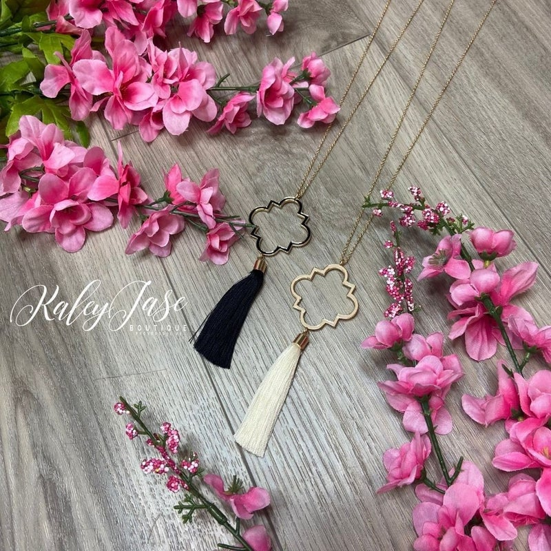 Quatrefoil Tassel Necklace #46