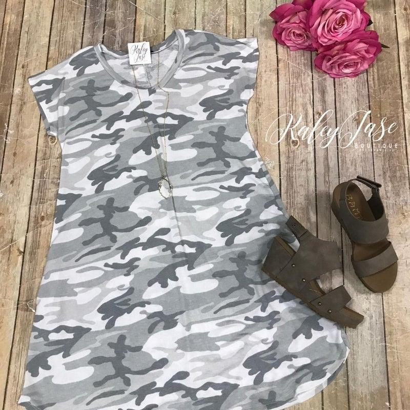 Grey Camo Vneck Dress