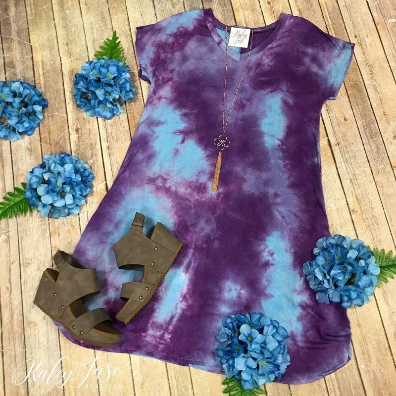 Purple Blue Tie Dye Vneck Dress
