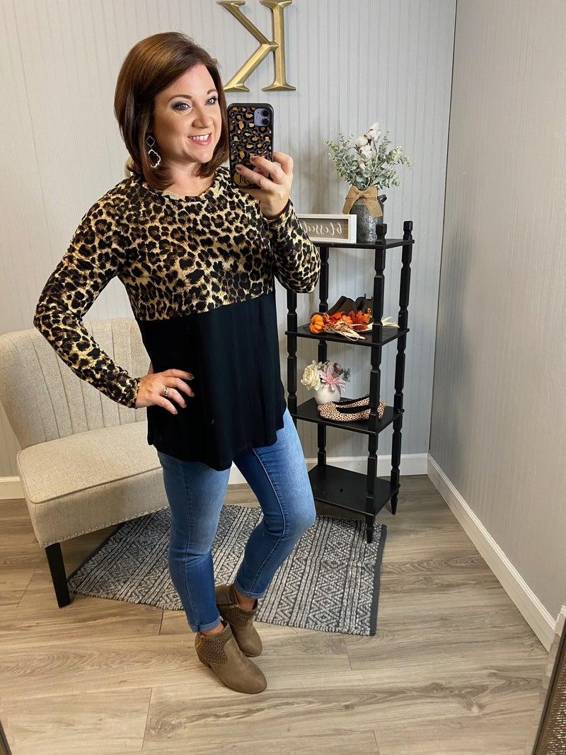 SIL Half Leopard LS Top