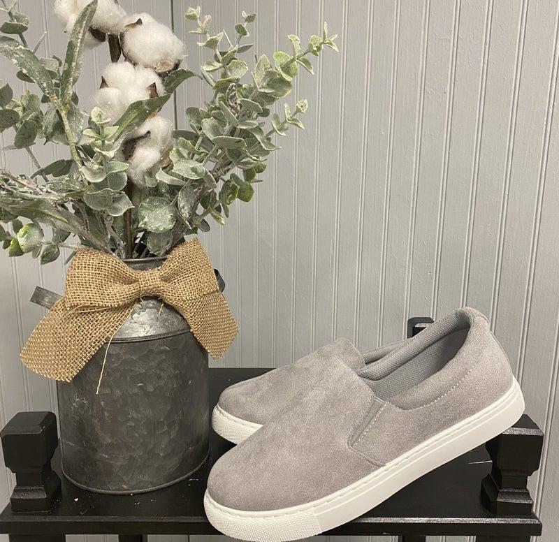Grey Suede Slide On Sneakers